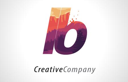 LB L B 文字ロゴ デザイン紫オレンジ フォレスト テクスチャー平面ベクトル イラスト。