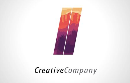 LL L Letter Logo Design with Purple Orange Forest Texture Flat Vector Illustration.