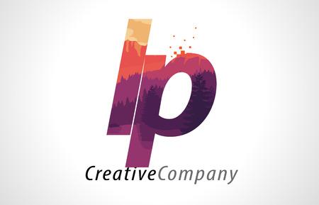 LP L P Letter Logo Design with Purple Orange Forest Texture Flat Vector Illustration.