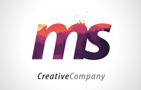 MS M S Letter Logo Design with Purple Orange Forest Texture Flat Vector Illustration. Illustration