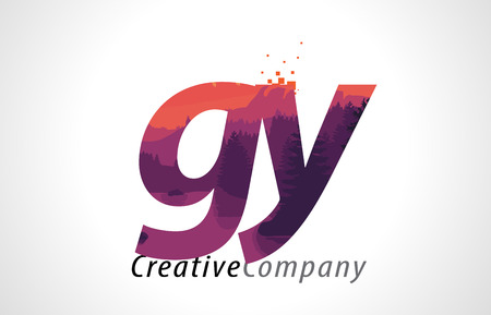GY G Y Letter Logo Design with Purple Orange Forest Texture Flat Vector Illustration. Logó
