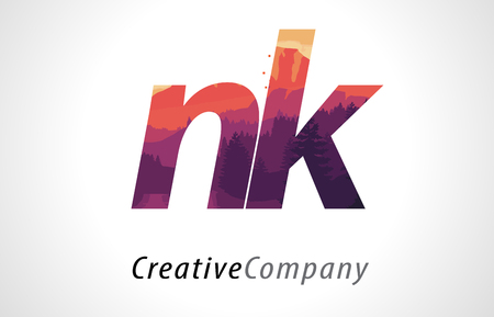 NK N K Letter Logo Design with Purple Orange Forest Texture Flat Vector Illustration.