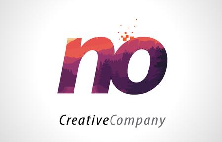 NO N O Letter Logo Design with Purple Orange Forest Texture Flat Vector Illustration. Ilustração