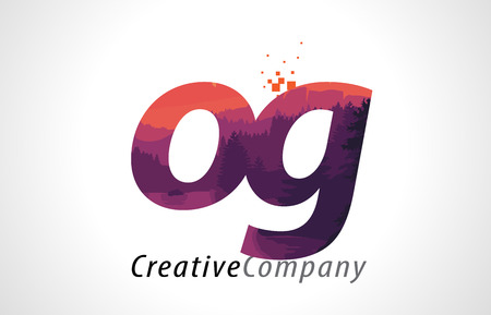 OG O G Letter Logo Design with Purple Orange Forest Texture Flat Vector Illustration.