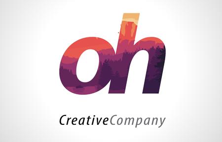 oh: OH O H Letter Logo Design with Purple Orange Forest Texture Flat Vector Illustration. Illustration