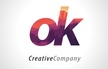 alphabet tree: OK O K Letter Logo Design with Purple Orange Forest Texture Flat Vector Illustration. Illustration
