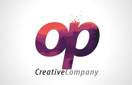 OP O P Letter Logo Design with Purple Orange Forest Texture Flat Vector Illustration. Banco de Imagens - 76539489