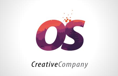 OS O S Letter Logo Design with Purple Orange Forest Texture Flat Vector Illustration.