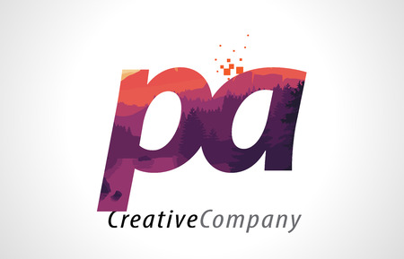PA P A Letter Logo Design with Purple Orange Forest Texture Flat Vector Illustration. Illustration