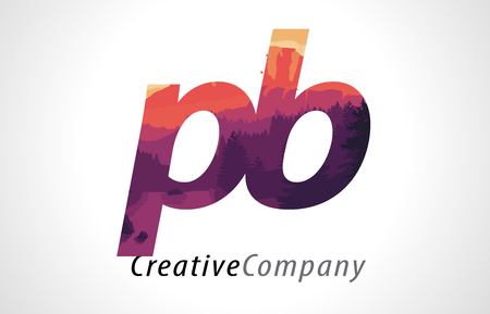 PB P B Letter Logo Design with Purple Orange Forest Texture Flat Vector Illustration.