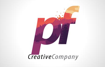 PF P F Letter Logo Design with Purple Orange Forest Texture Flat Vector Illustration. Illustration
