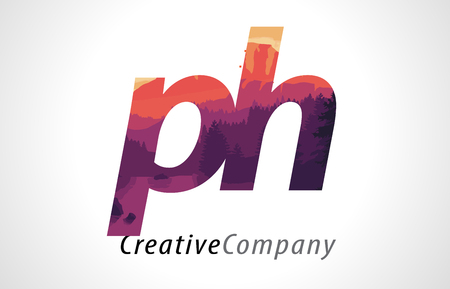 PH P H Letter Logo Design with Purple Orange Forest Texture Flat Vector Illustration.