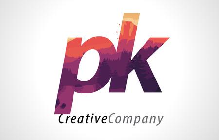 PK P K Letter Logo Design with Purple Orange Forest Texture Flat Vector Illustration.