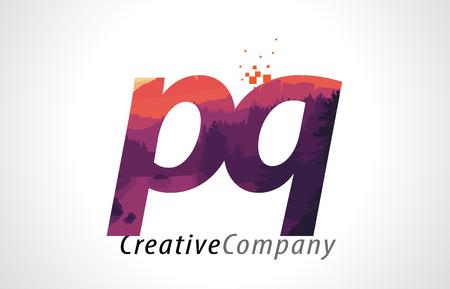 PQ P Q Letter Logo Design with Purple Orange Forest Texture Flat Vector Illustration. Illustration