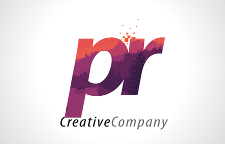 alphabet tree: PR P R Letter Logo Design with Purple Orange Forest Texture Flat Vector Illustration.