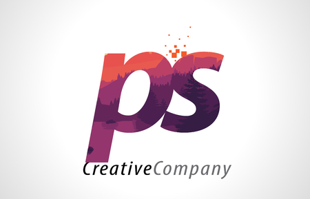 PS P S Letter Logo Design with Purple Orange Forest Texture Flat Vector Illustration.