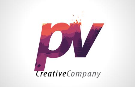 PV P V Letter Logo Design with Purple Orange Forest Texture Flat Vector Illustration. Illustration