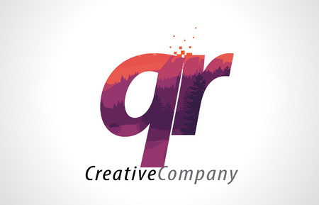 QR Q R Letter Logo Design with Purple Orange Forest Texture Flat Vector Illustration.