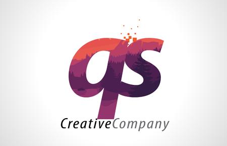 qs: QS Q S Letter Logo Design with Purple Orange Forest Texture Flat Vector Illustration. Illustration