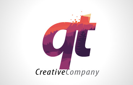 alphabet tree: QT Q T Letter Logo Design with Purple Orange Forest Texture Flat Vector Illustration.