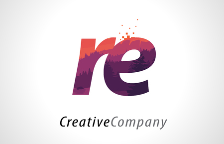 RE R E Letter Logo Design with Purple Orange Forest Texture Flat Vector Illustration.