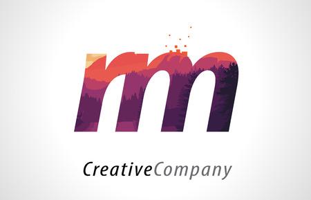 RM R M Letter Logo Design with Purple Orange Forest Texture Flat Vector Illustration. Illustration