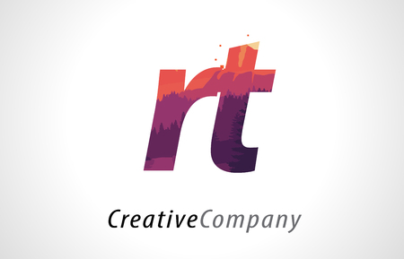 RT R T Letter Logo Design with Purple Orange Forest Texture Flat Vector Illustration.