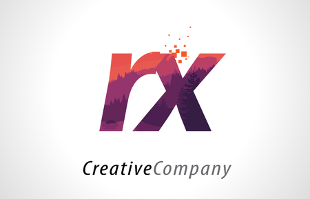 RX R X Letter Logo Design with Purple Orange Forest Texture Flat Vector Illustration.