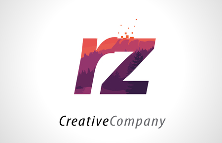 RZ R Z Letter Logo Design with Purple Orange Forest Texture Flat Vector Illustration.
