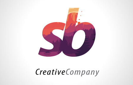 alphabet tree: SB S B Letter Logo Design with Purple Orange Forest Texture Flat Vector Illustration.