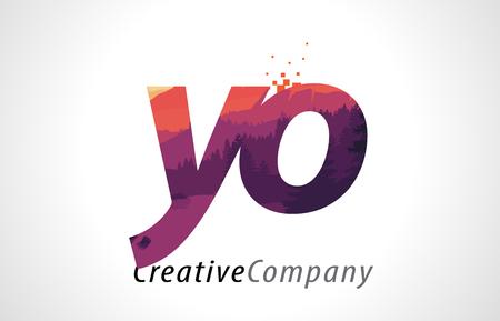 YO Y O Letter Logo Design with Purple Orange Forest Texture Flat Vector Illustration.