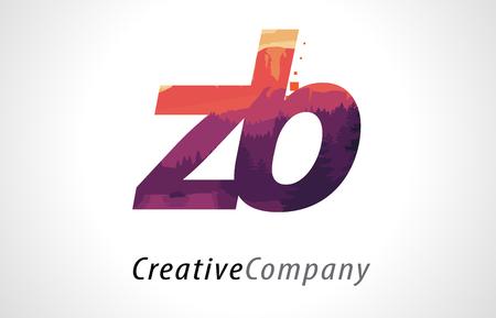 ZB Z B Letter Logo Design with Purple Orange Forest Texture Flat Vector Illustration.