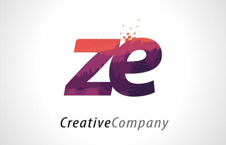 Buchstabe Logo Design ZE ZE mit purpurroter orange Forest Texture Flat Vector Illustration. Logo