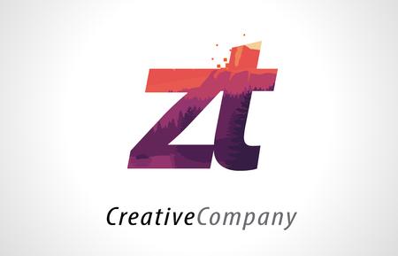 ZT ZT Harf Mor Turuncu Orman Doku Düz Vektör Çizim ile Logo Tasarımı.
