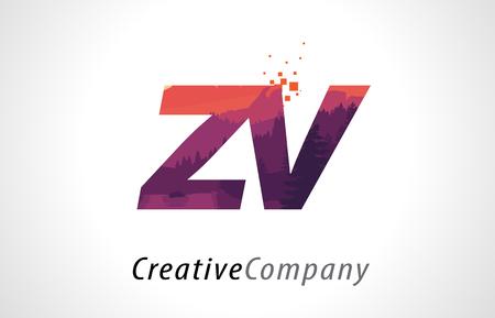 ZV Z V Letter Logo Design with Purple Orange Forest Texture Flat Vector Illustration.