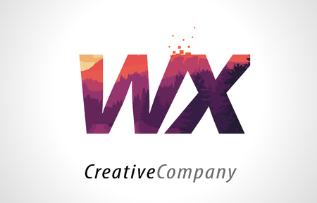 alphabet tree: WX W X Letter Logo Design with Purple Orange Forest Texture Flat Vector Illustration.