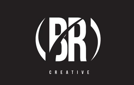 br: BR B R White Letter Logo Design with White Background Vector Illustration Template. Illustration