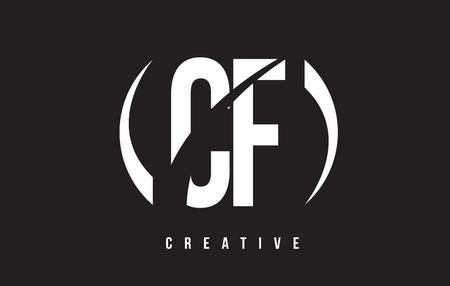 CF C F White Letter Logo Design with White Background Vector Illustration Template.