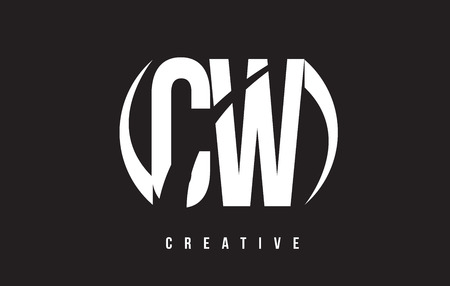 w c: CW C W White Letter Logo Design with White Background Vector Illustration Template.