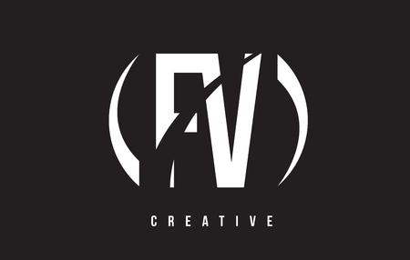 fv: FV F V White Letter Logo Design with White Background Vector Illustration Template.