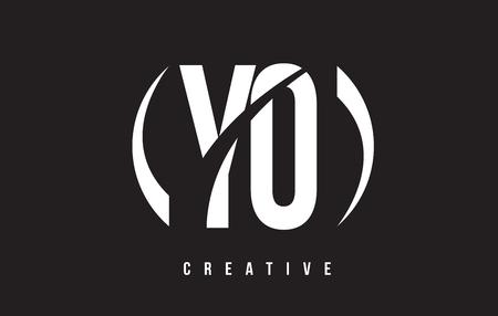 YO Y O White Letter Logo Design with White Background Vector Illustration Template. Illustration