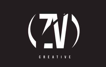ZV Z V White Letter Logo Design with White Background Vector Illustration Template.