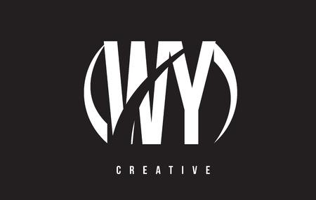 WY WY 화이트 편지 로고 디자인 흰색 배경 벡터 일러스트 템플릿입니다. 일러스트
