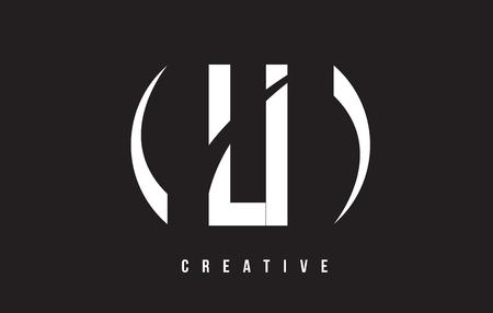 LI L I White Letter Logo Design with White Background Vector Illustration Template.