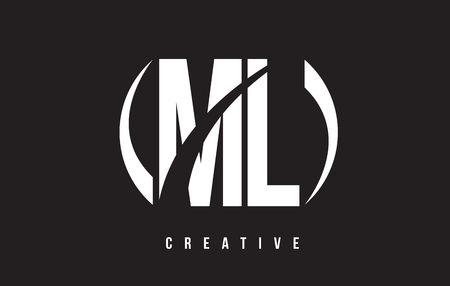 ml: ML M L White Letter Logo Design with White Background Vector Illustration Template. Illustration