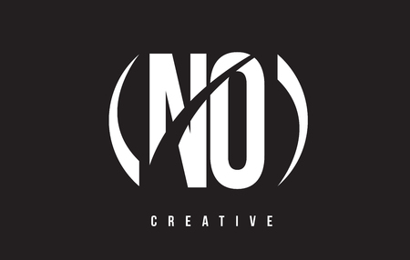 NO N O White Letter Logo Design with black Background Vector Illustration Template.