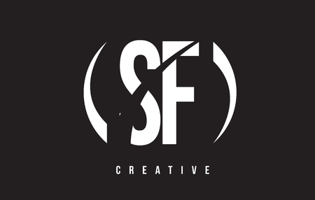 SF S F White Letter Logo Design with White Background Vector Illustration Template.