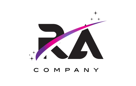 RA R Q Black Letter Logo Design with Purple Magenta Swoosh and Stars. Illustration