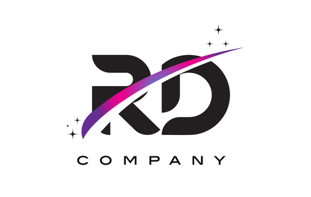 rd: RD R D Black Letter Logo Design with Purple Magenta Swoosh and Stars. Illustration