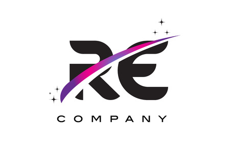 RE R E Black Letter Logo Design with Purple Magenta Swoosh and Stars.